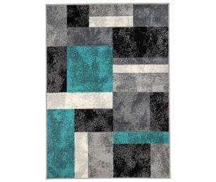 Covor Dreptunghiular Modern & Geometric Kusakio Gri/Albastru/Negru - C05-0201123