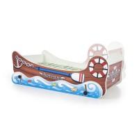Pachet Pat Copii - HM Boat + Saltea 70x140 cm - 2-8 ani