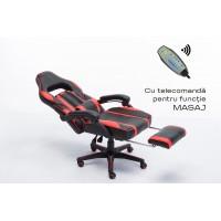 Scaun Gaming SIG 8069M - Functie Sezlong Masaj si Suport Picioare - Culoare Negru-Rosu