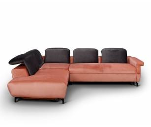 Canapea Extensibila - Coltar Lounge - Culoare Maro-Portocaliu