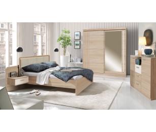 Set Mobila Dormitor Effect Sonoma - Pat 160x200 cm + Sifonier + Comoda + Noptiere