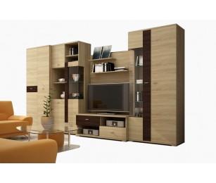 Biblioteca Bergamo 2 - Culoare Stejar-Maro - Mobila Living-Sufragerie