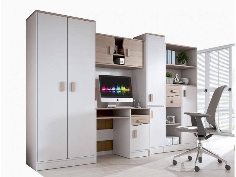 Biblioteca Macius - Culoare Alb-Stejar - Mobila Living-Sufragerie