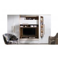 Biblioteca Porto - Culoare Alb-Stejar - Mobila Living-Sufragerie