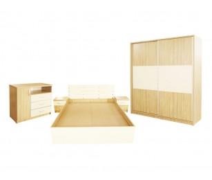 Set Mobila Dormitor Milano - Culoare Stejar - Pat 140x200 cm + Sifonier + Comoda + Noptiere