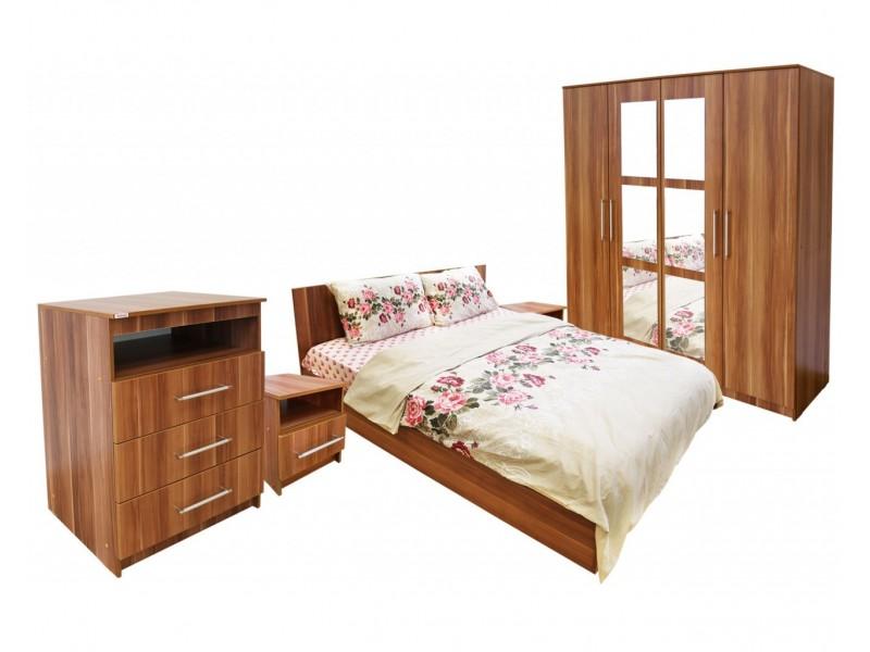 Set Mobila Dormitor Napoli - Culoare Nuc - Pat 140x200 cm + Sifonier + Comoda + Noptiere