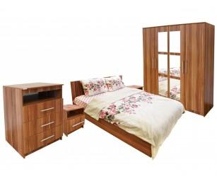 Set Mobila Dormitor Napoli - Culoare Nuc - Pat 160x200 cm + Sifonier + Comoda + Noptiere