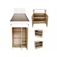 Set Mobila Dormitor Soft - Culoare Stejar - Pat Tapitat 140x200 cm + Sifonier + Comoda + Noptiere