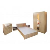 Set Mobila Dormitor Soft - Culoare Stejar - Pat 120x200 cm + Sifonier + Comoda + Noptiere