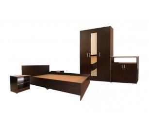 Set Mobila Dormitor Soft - Culoare Wenge - Pat 120x200 cm + Sifonier + Comoda + Noptiere