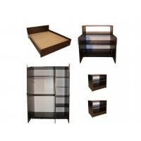 Set Mobila Dormitor Soft - Culoare Wenge - Pat 160x200 cm + Sifonier + Comoda + Noptiere