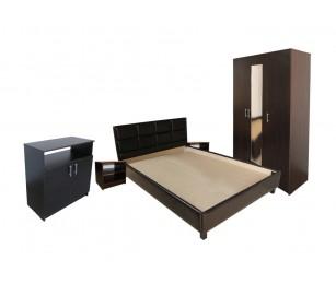 Set Mobila Dormitor Soft - Culoare Wenge - Pat Tapitat 160x200 cm + Sifonier + Comoda + Noptiere