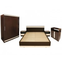 Set Mobila Dormitor Verona - Culoare Wenge - Pat 160x200 cm + Sifonier + Comoda + Noptiere