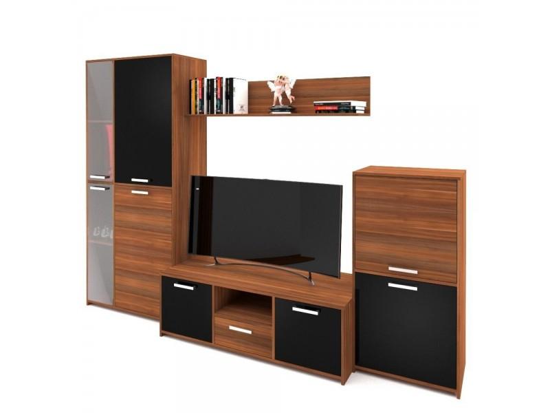 Biblioteca Fenix - Mobila Living - Culoare Nuc / Negru - 257x52x181cm