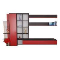 Biblioteca Romeo - Mobila Living - Culoare Rosu / Wenge - 317x190x41cm