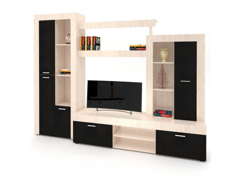 Biblioteca San Marino Light  - Mobila Living - Culoare Crem / Wenge 270x203x42cm