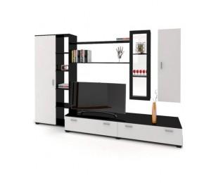 Biblioteca Venetia - Mobila Living - Culoare Alb / Wenge - 280x50x184 cm