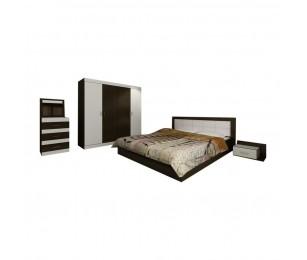 Set Mobila Dormitor Afrodita - Culoare Wenge-Alb - Pat 160x190 cm + Sifonier + Comoda + Noptiere