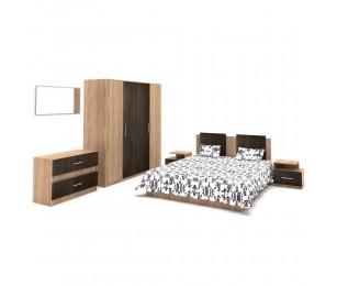 Set Dormitor Complet Gabriela 2 - Stejar / Cacao - Sifonier + Pat + Noptiere + Comoda + Oglinda