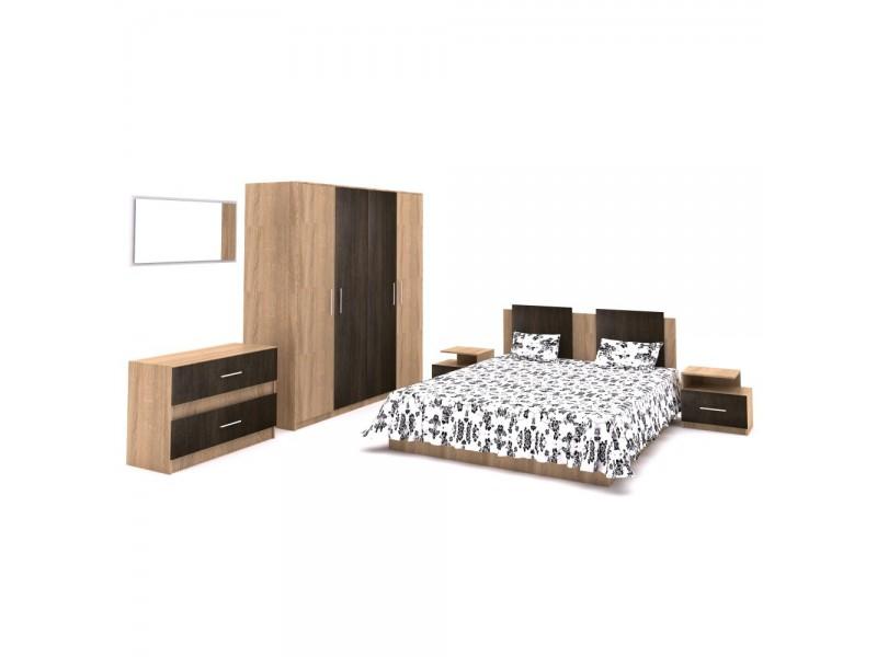 Set Mobila Dormitor Gabriela 2 - Culoare Stejar-Cacao  - Pat 160x200 cm + Sifonier + Comoda + Oglinda + Noptiere