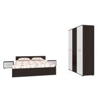Set Mobila Dormitor Hera - Culoare Wenge-Alb - Pat 160x200 cm + Sifonier + Noptiere