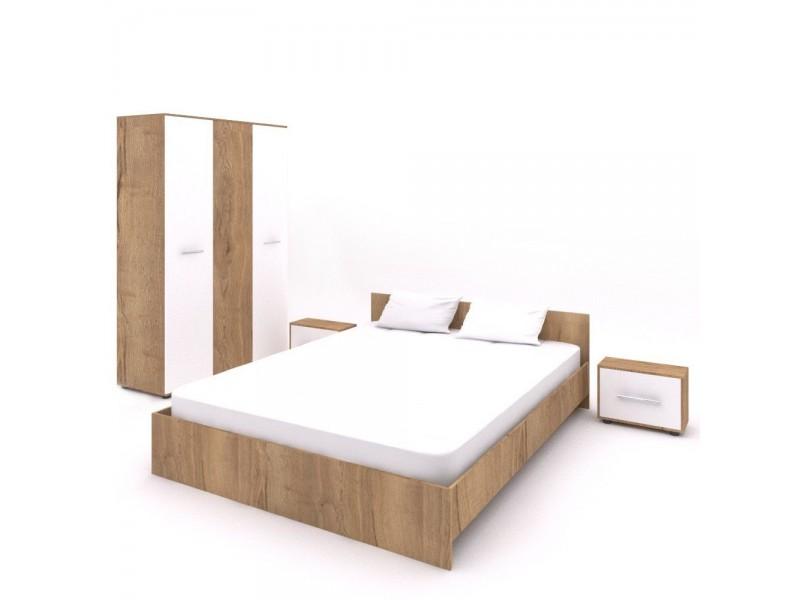 Set Mobila Dormitor Hera 2 - Culoare Alb-Stejar - Pat 160x200 cm + Sifonier + Noptiere