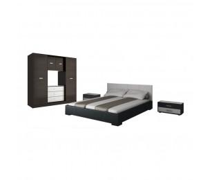 Set Dormitor Complet Irena - Wenge / Alb - Sifonier + Pat + Noptiera