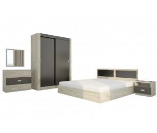 Set Mobila Dormitor Katina - Culoare Pin-Cenusiu - Pat 160x190 cm + Sifonier + Comoda + Oglinda + Noptiere