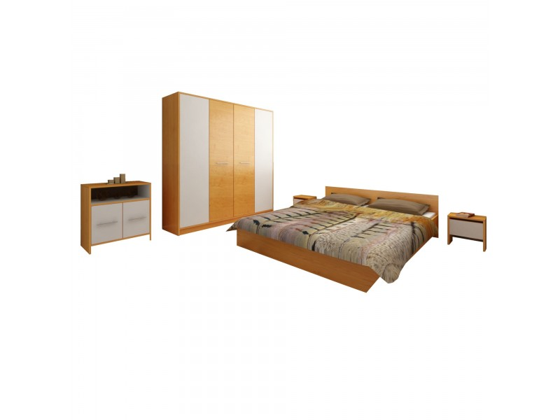 Set Mobila Dormitor Mirela - Culoare Stejar-Alb - Pat 160x190 cm + Sifonier + Comoda + Noptiere