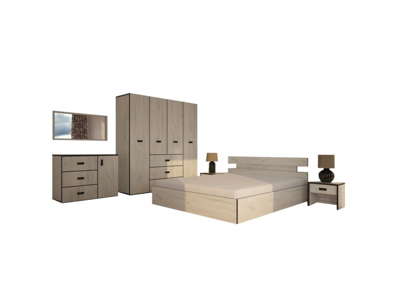 Set Dormitor Complet Sani - Sifonier + Pat + Noptiere + Comoda + Oglinda