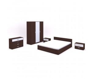 Set Mobila Dormitor Stasy - Culoare Wenge-Alb - Pat 160x200 cm + Sifonier + Comoda + Noptiere
