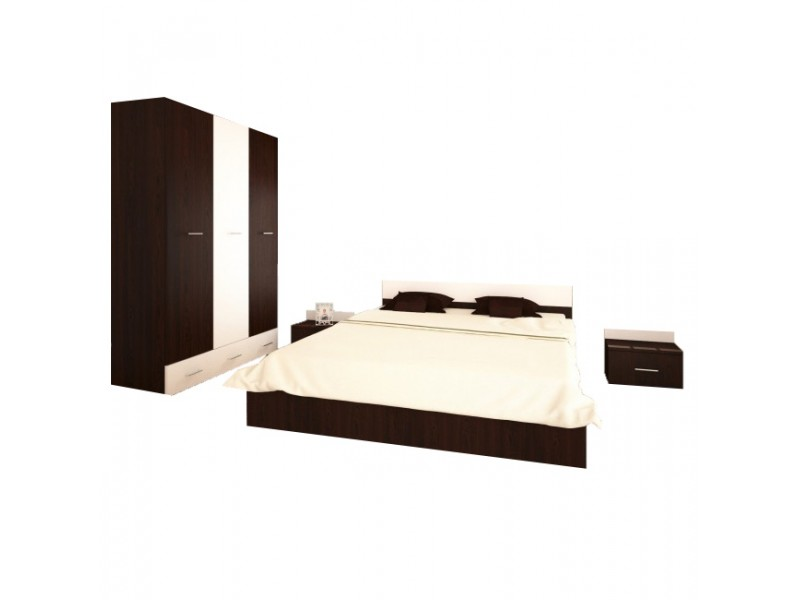 Set Mobila Dormitor Viktoria - Culoare Wenge-Alb - Pat 140x190 cm + Sifonier + Noptiere